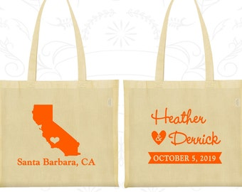 California Wedding, California Tote Bags, Imprinted Canvas Bags, Destination Wedding Bags, State Tote Bags, Welcome Wedding Bags (104)