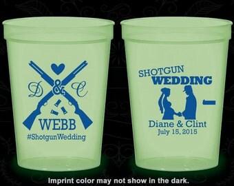 Shotgun Wedding, Custom Nite Glow Cups, Country, Southern Wedding, Redneck, Glow in the Dark (562)