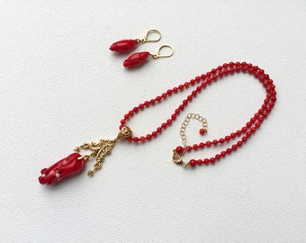 Red Coral Flower Necklace Natural Coral Necklace Carved Coral Necklace