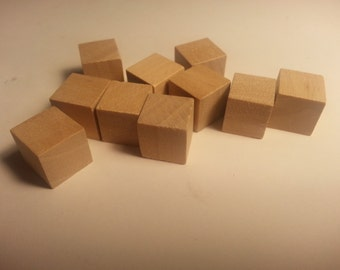 """1/2"""" Wood Cube - Set of 10 - Wooden Square - 1/2"""" inch Wood Cubes - Unfinished - Craft Cubes -Wood Parts"""