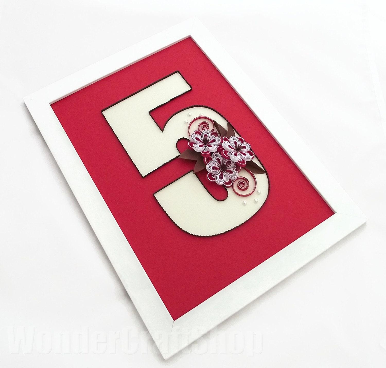 5th Year Anniversary: Number 5 5th Anniversary 5 Year Anniversary Nursery Number
