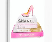 Pink Designer Inspired Painting of Chanel, Louis Vuitton, Dior Book and Louboutin Heel  - 8x8, 8x10, 11x11, 11x14 Print