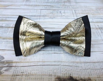 Men's black and gold bow tie. Metallic gold and black bow tie luxury wedding grooms gift formal