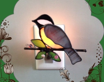 Chickadee, Stained Glass, Night Light, Sun Catcher, Custom Made, Handmade, Home Decor, Bird Light