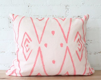 pink throw pillow cover hand painted tribal design boho pillow eco frendly