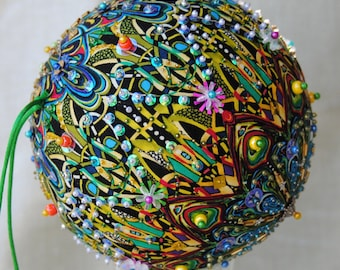 Opulent ONE OF A KIND sequined & beaded ornament using Paula Nadelstern fabric