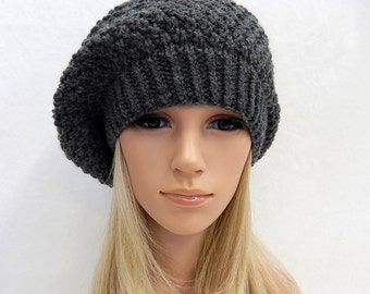 Knit Hat Slouchy Beret Beanie Handmade...Charcoal Gray  (Ready to Ship)