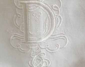 "Embroidered ""D"" Monogram Guest Towel in White with  Gallucci Border /Free shipping in US"