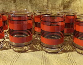 9 Libbey Mid Century Brown and Orange Striped Juice Glasses/Drinking Glasses