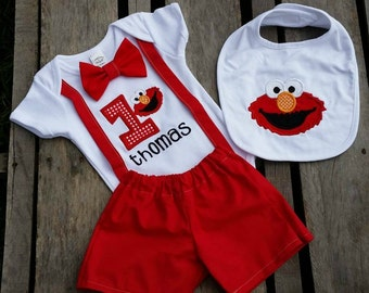 Boys Elmo Birthday Outfit with Bowtie and Suspenders
