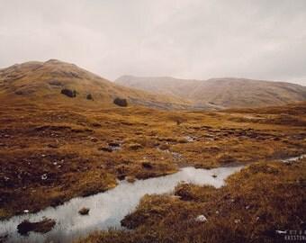 QUIET MOORS photography print,  Scotland Highlands landscape, 8x12