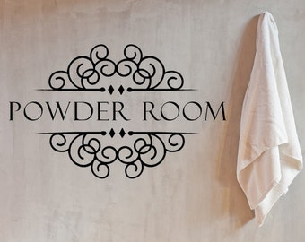 Powder Room Sign, Powder Room Vinyl Wall Decal, Home Decor, Custom Vinyl  Decals