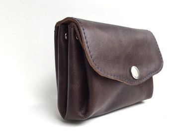 "Wallet leather , leather wallet "" MOCCA "" , leather purse, leather wallet , dark brown leather"