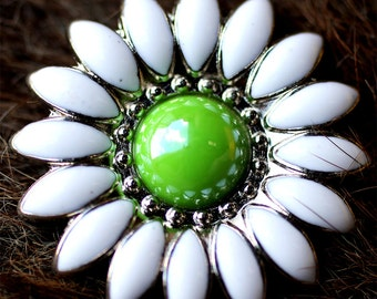 4 Conchos Rhinestone Horse Saddle Bridle Tack Rodeo Western Green Floral CO28