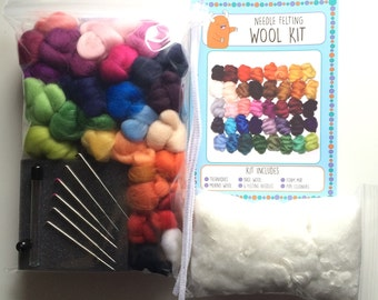Needle felting starter pack 40 Colours x 2.5g (100g), Needle and Wet Felting Wool, Merino Wool Tops