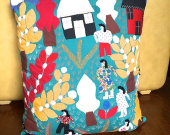 Vintage Colorful Appliqued Pillow