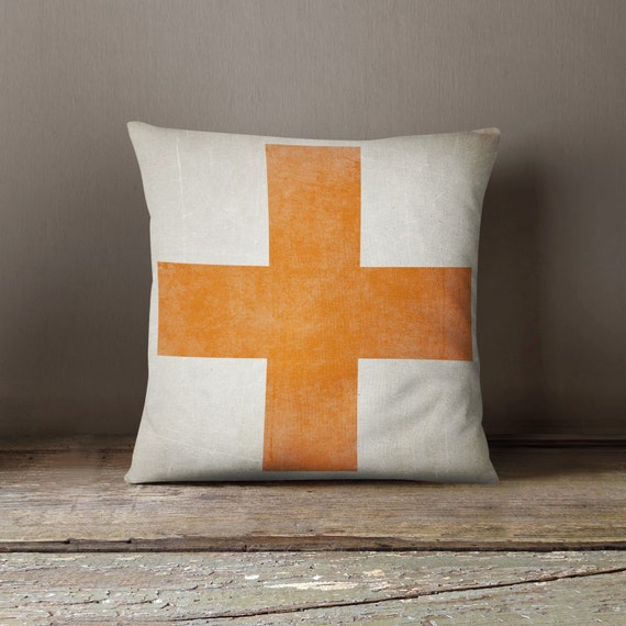 Decorative Living Room Pillow Covers : Swiss Cross Pillow Living Room Decor Pillow Cover Orange