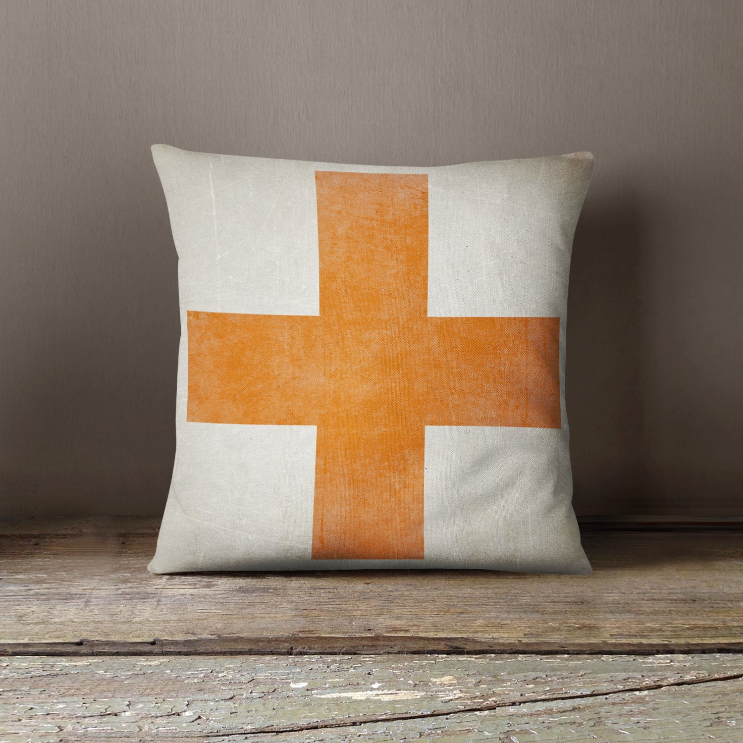 Decorative Pillows With Crosses : Swiss Cross Pillow Living Room Decor Pillow Cover Orange
