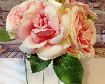 Mirror Cube Vase with Pink Roses