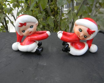 Vintage Pair of Lefton Pixie Candle Climbers Made in Japan