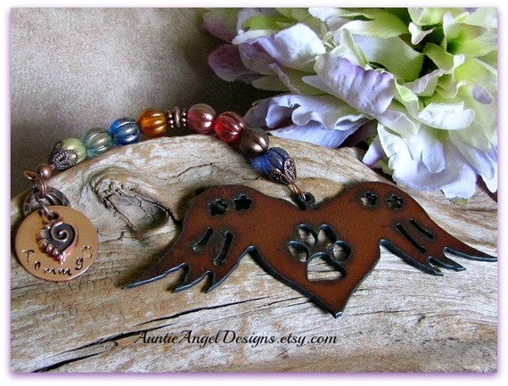 Angel Paws Rainbow Bridge Winged Heart Custom Ornament; Rainbow Bridge Pet Angel Wings Ornament; Stamped Rustic Angel Paws Gift; Angel Pets