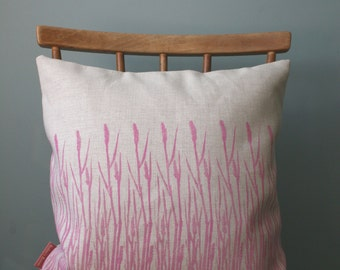 "Cushion cover 40cm, Throw pillow cover 16"", Hand printed, Linen woven in UK,Grass print, wild flower, nature print, hot pink."