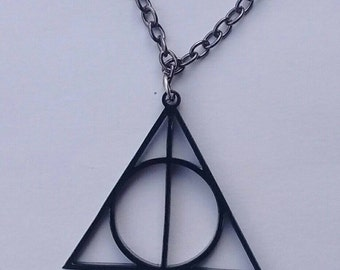 Deathly Hallows Inspired Necklace on Black Acrylic, Geek, Awesome Jewellery, Harry Potter Inspired