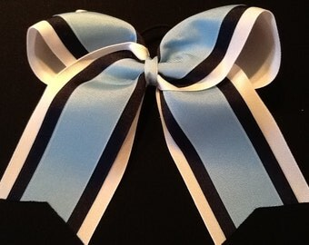 White Navy Blue Grosgrain Cheer Bow Softball Bows Volleyball Bows Soccer Bows