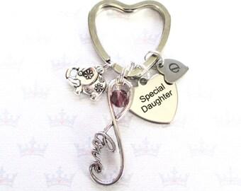 Birthstone keychain for daughter - Infinity keyring - Birthday gift for daughter - Daughter keyring - Elephant keychain - Daughter gift