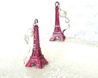 Cute Eiffel Tower earrings - Love Paris - Valentine's Gift - Hot Pink earrings - Eiffel Tower jewellery - Gift for girls - Kawaii earrings