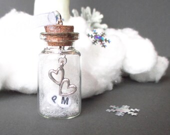 Personalized wedding gift - Two hearts ornament - Engagement gift - Heart in a jar - Rustic wedding - Personalised ornament - UK