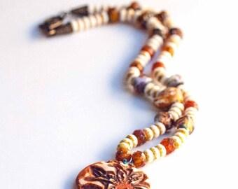CLEARANCE Bohemian Necklace, Boho Orange Tiger Lily Necklace OOAK