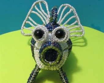 Fish Glass Beaded African Street Art Style Sculpture Figurine  Collectible Collector Hand Made