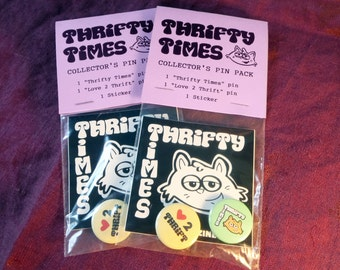 Thrifty Times Pin Pack - Love to Thrift - Buttons - Pins - Stickers - Thrifting - Thrift Shopping - Thrifty Cat