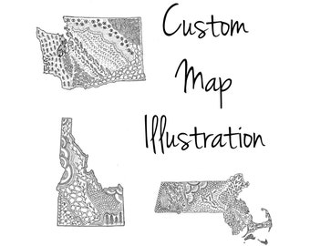 "Custom Map Illustration, 5""x7"" or 8""x10"""