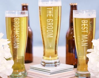 Personalized Bridal Party Pilsner Glass
