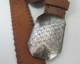 Boho Belt Brown Italian Leather Belt Silvertone Buckle Big Buckle Hippie Belt 1970 Neiman Marcus