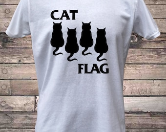 Cat Flag Cute Cat Punk Rock T-Shirt