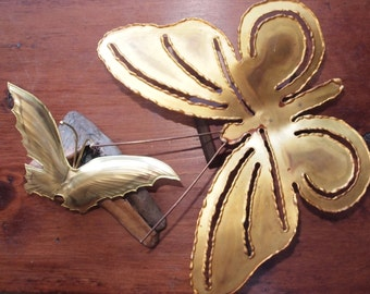 Decorative Brass Butterflies on Wood