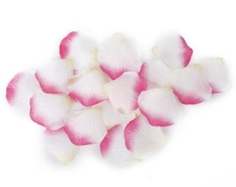 100 x Pink & White Artificial Silk Rose Petals. Perfect for Throwing Confetti, Weddings, Parties and Valentine's Romance