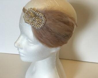 Beige 1920s Bridal headband, Gold Flapper Headband, 20s Great Gatsby Headpiece, 1920s Headband, Flapper HEADPIECE Headdress