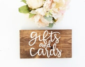 Gifts and Cards Sign, Rustic Wedding Sign, Gift Table Sign, Wood Wedding Sign, Rustic Wedding, Hand Lettered Wedding Sign, Wedding Decor