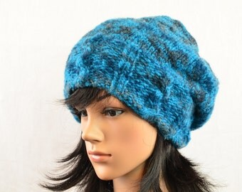 Winter hat, knitted hat, Basque beret, knitted, winter accessory, women, dark turquoise and grey