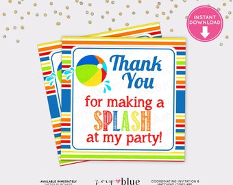 Pool Party Favor Tags - Beach Ball Birthday Party - Printable Thank You Color Polka Dot - Instant Download Digital File