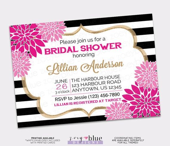 Floral Fuchsia Bridal Shower Invitation Rose Pink Black White