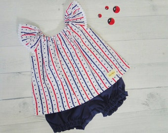 Red, white and blue baby clothes set, stripe baby top and navy linen baby bloomer