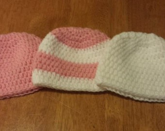 Micro Preemie Hat, sizes for 1 to 2 lb,  2 to 3 lb, and 3 to 4 lb, hospital beanie tiny cute
