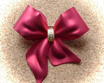 PRICE REDUCED! N11: Large Stunning Vintage Red Christmas Bow pin