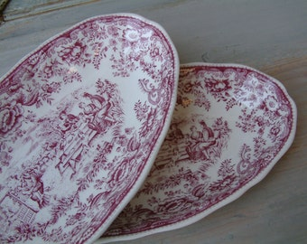 Set of 2 french vintage mulberry transferware oval side dishes. Lunéville. Mulberry transferware. French transferware. Raspberry color