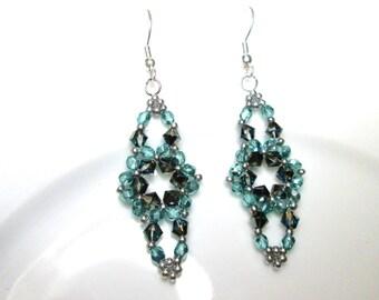 Aqua and crystal bermuda blue swarovski elements beaded earrings, aqua earrings, aqua jewelry, ER037